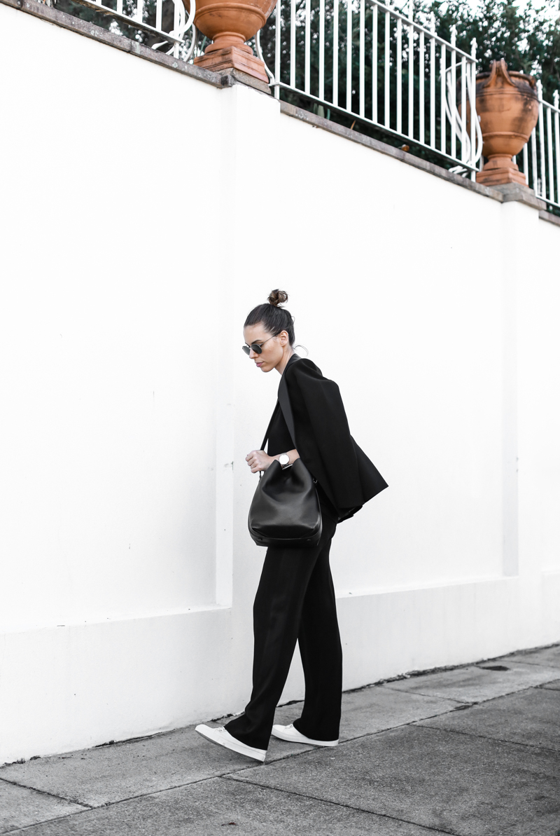 modern legacy, fashion blog, bucket bag, street style, sport luxe, wide leg suit, karen millen, sneakers (1 of 1)