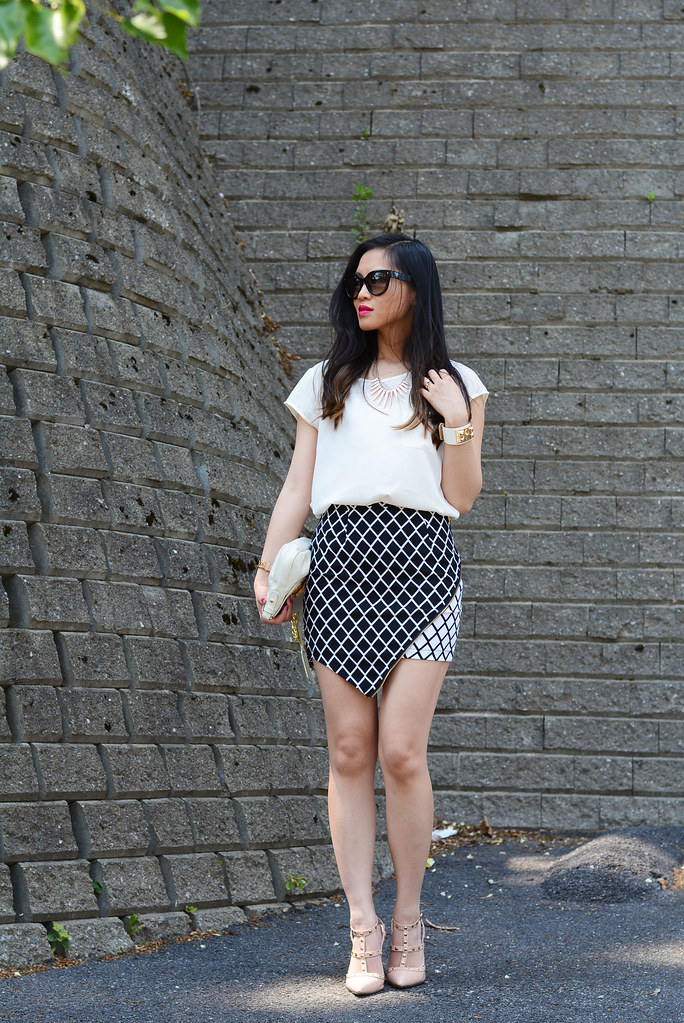asymmetrical plaid pattern zip skirt, summer outfit