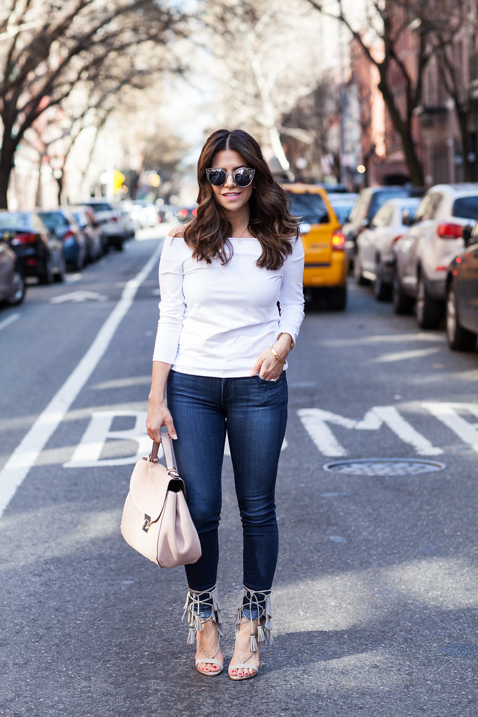 Kija heels by schutz fringe heels suede heels nyc fashion blogger ag adriano goldschmied denim white off the shoulder shirt zara asos pink suede bag zara what to wear skinny jeans spring outfit corporate catwalk fashion blogger in nyc