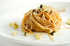 Wholemeal spaghetti, white soft  asparagus and capers
