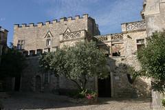 Aiguèze castle courtyard