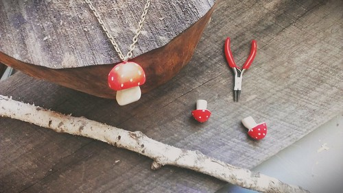 red capped toadstool necklace