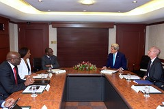 U.S. Secretary of State John Kerry and U.S. Ambassador to Kenya Robert Godec meet with Kenyan Chief Justice Willy Mutunga and other officials in Nairobi, Kenya in May 4, 2015. [State Department Photo/Public Domain]