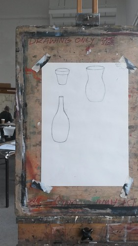 Pencil drawing, plant pot, vase and bottle