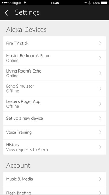 Alexa iOS App - Settings