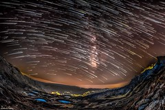 Laqlouq lakes, Lebanon - milky way and comet style star trail