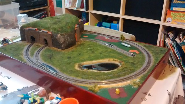 Train layout with tunnel nearing completition