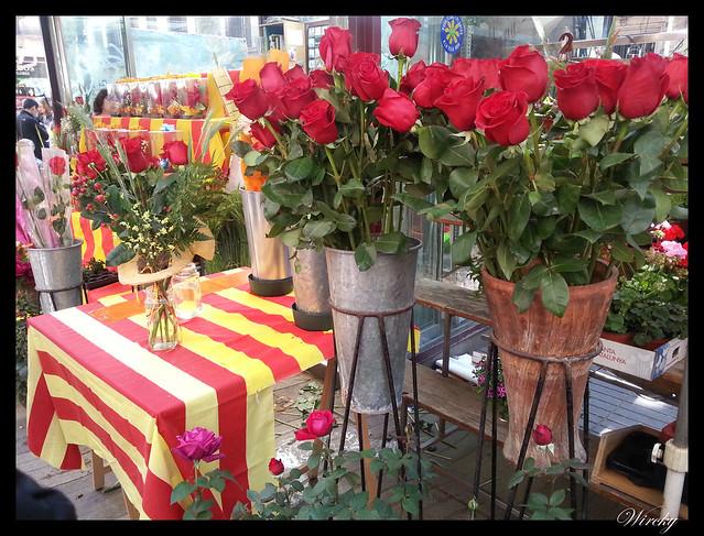 Puesto de ramos de rosas