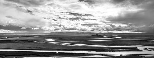 china travel panorama white black water yellow clouds work trekking river landscape photography asia view outdoor wolken landschaft arbeit plain ausblick schuften ebene