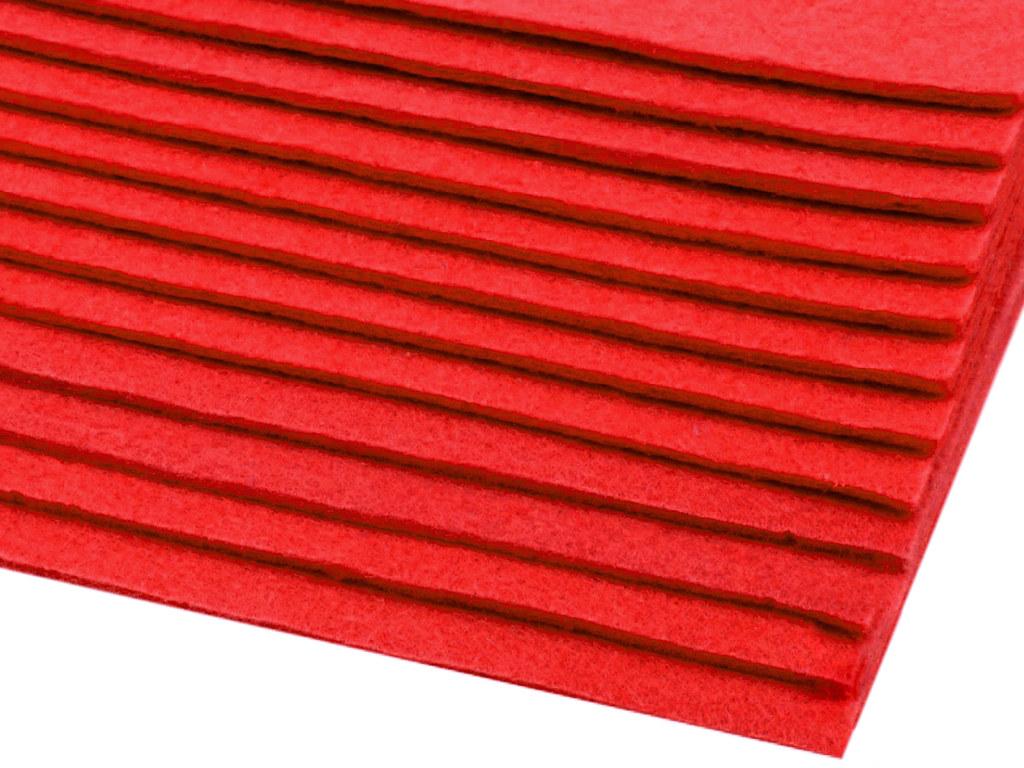 Filz (Stärke 2 - 3mm) rot, VE: 12 Bögen