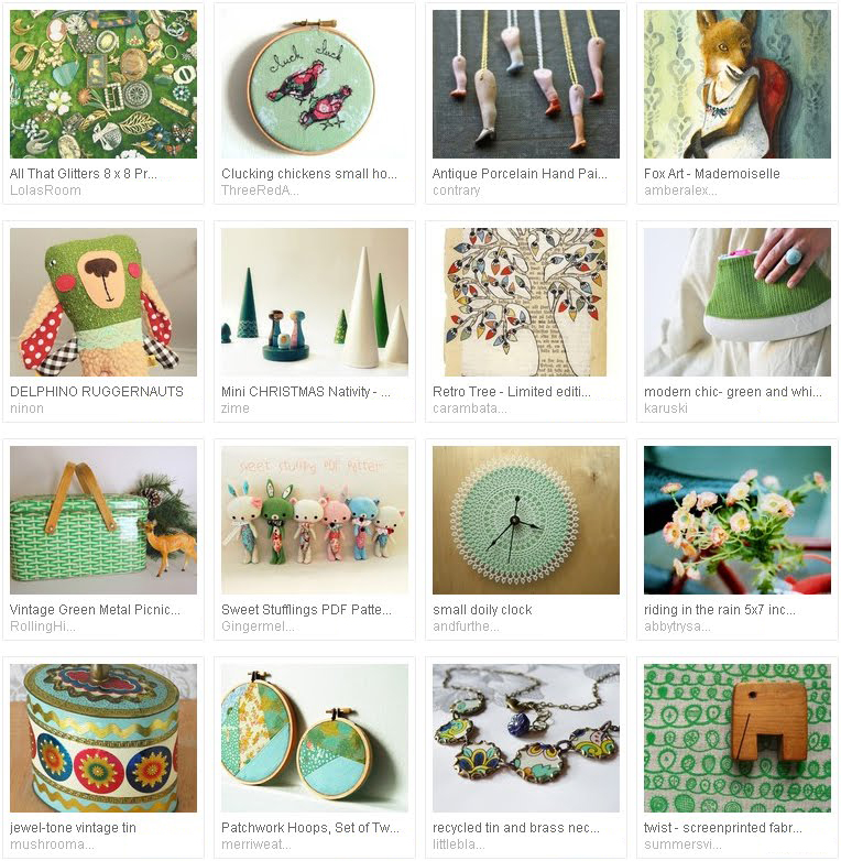 'whimsy in green...' - Etsy treasury curated by Emma Lamb