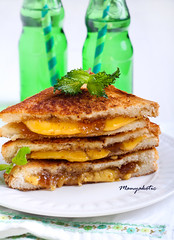 Fig jam and cheese grilled sandwich
