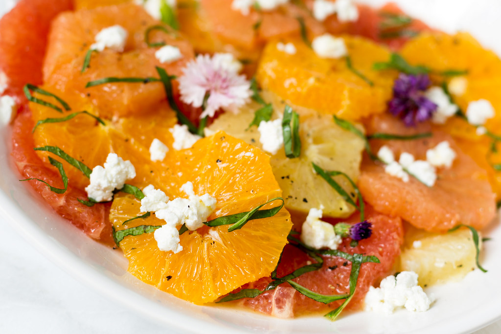 mixed citrus salad with goat cheese
