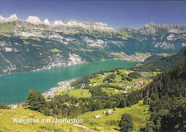 CH-232841 to FI Aerial view Walensee with Churfirsten, Switzerland