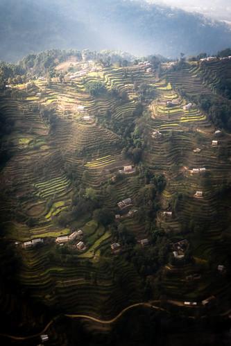 nepal light foothills mountains asia fuji god terraces hills gaudi fujifilm farms rays himalayas lukla xe1