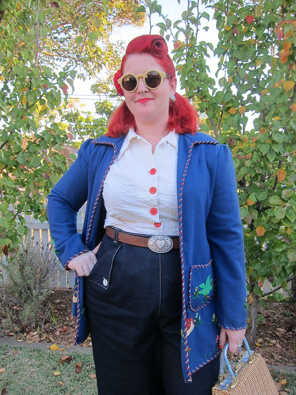 1940s 1950s jeans vintage denim womans mexican tourist coat jacket