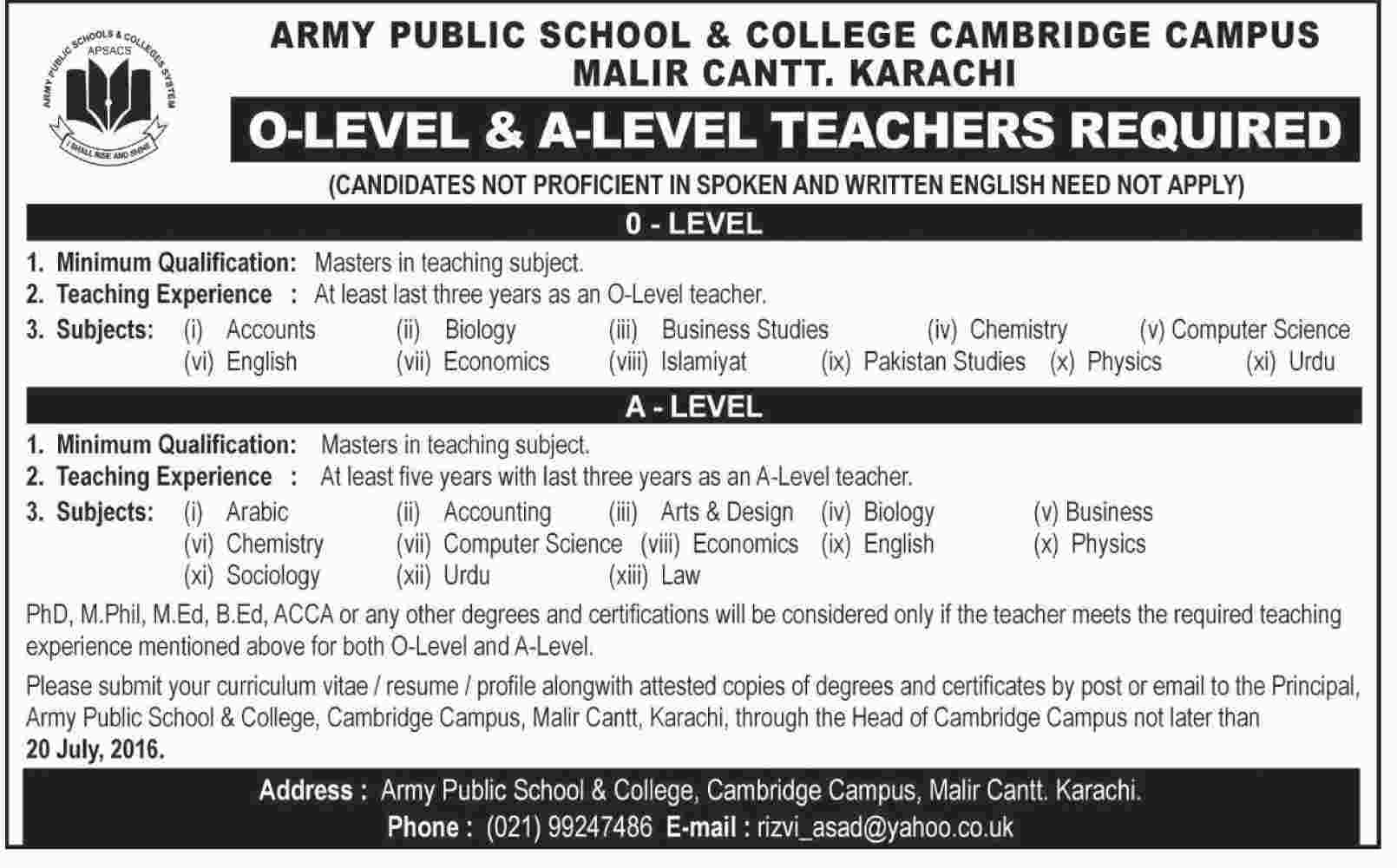 Army Public School and College Cambridge Campus Malir Cantt Karachi Jobs