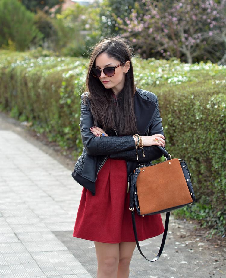 zara_ootd_outfit_falda roja_botines_sheinside_plaid_03
