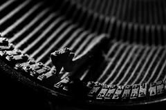 typewriter, monochrome photography, close-up, monochrome, black-and-white, black,