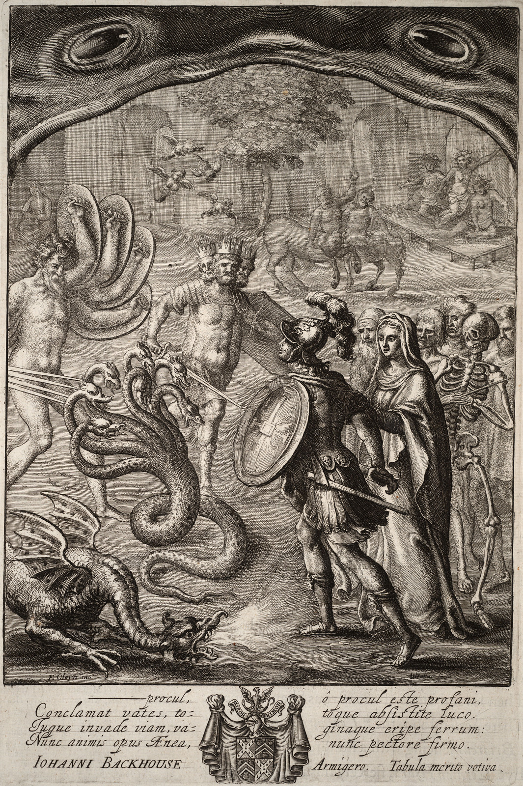 Wenceslaus Hollar - Aeneas in the underworld. (scene from Virgil) 17th century
