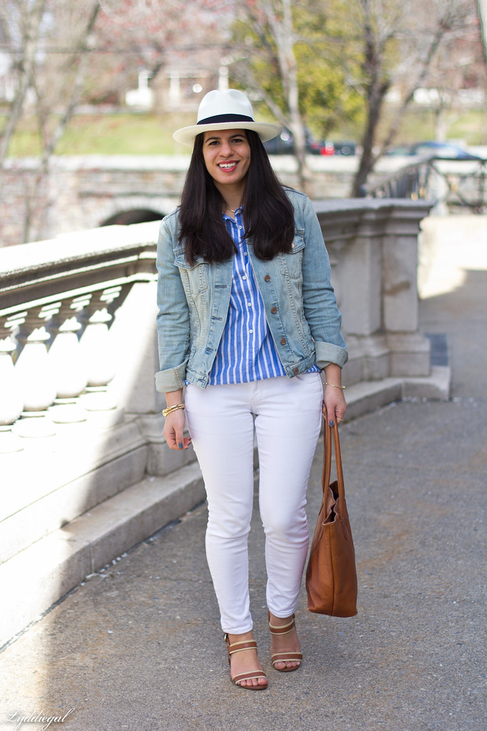 white jeans, striped top, denim jacket, panama hat-1.jpg