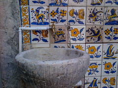 Tiles and water fountain