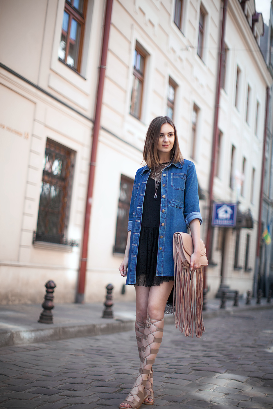 outfit-with-gladiator-sandals-dress-denim-fashion-blog