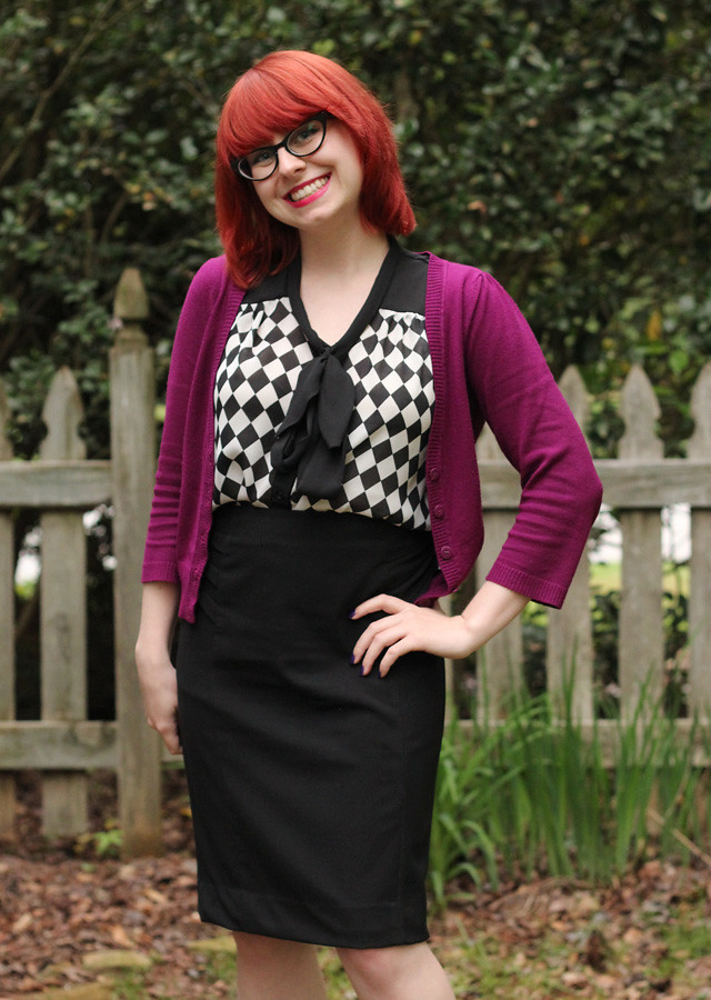 Black New York & Co. Pencil Skirt,Violet Cardigan, and Checkered Blouse