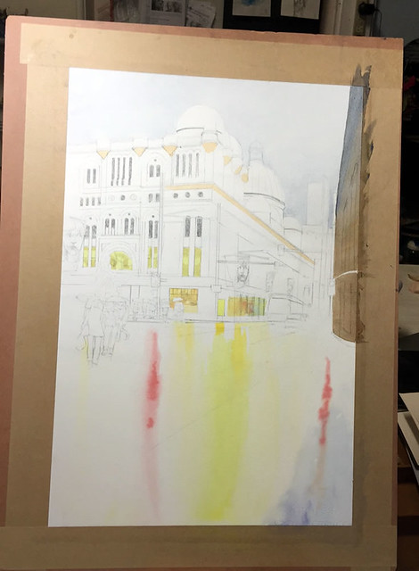 Watercolour painting of QVB by Mike Lamble  2