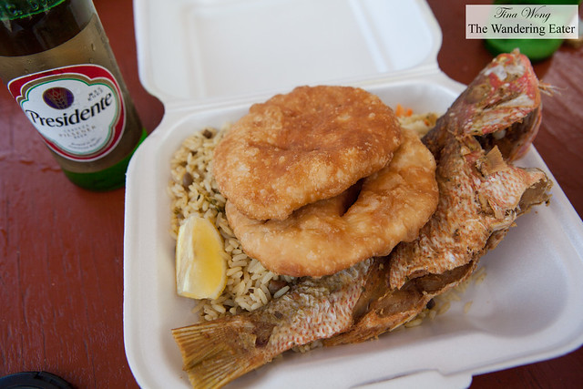 Lunch at Festival del Mar - Grilled snapper, fried Johnnycakes, rice and peas with cold El Presidente beer