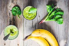 Vitamin green smoothie with spinach, banana, clean…