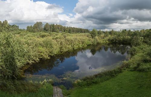 pond reflection dīķis clouds