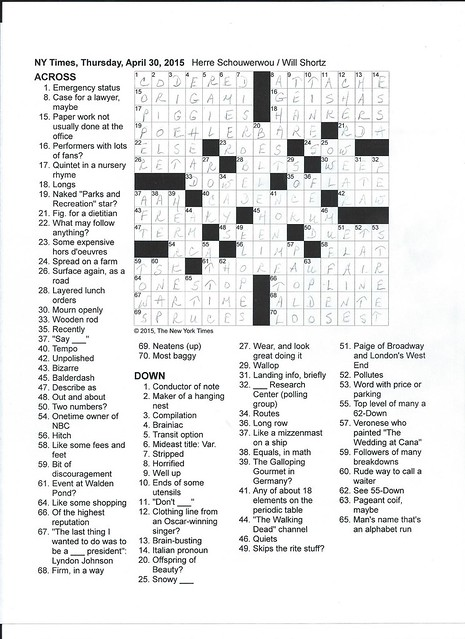 NYT Thursday Puzzle - April 30, 2015