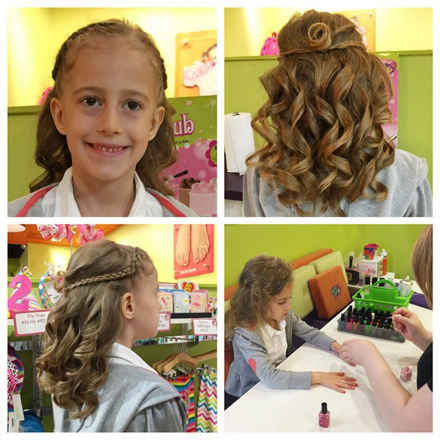 My baby girl is going to be a flower girl again today, third time! She's a pro now! Got her hair done today at Sweet and Sassy, she got a down do, because the pins hurt her last time. It is so pretty!! They do such a good job there. She got her nails done