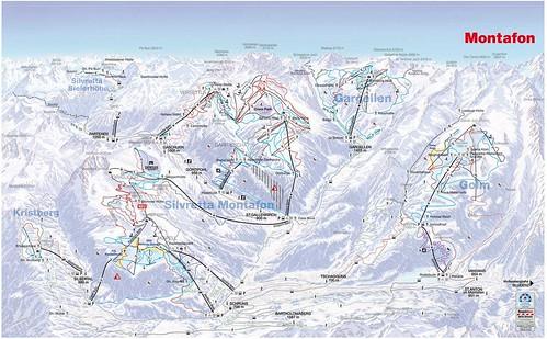 Montafon - mapa sjezdovek