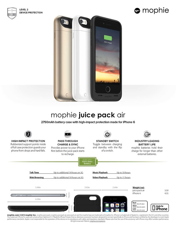Mophie Juice Pack Air for iPhone 6 (Sheet)