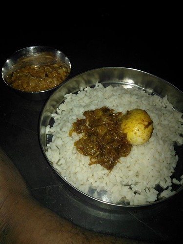 Mutta (Egg) Roast served with Rice for breakfast