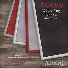 @ CMP ~ [CIRCA] - :TAKUMI: Velvet Area Rug Set of 4 (with Cream)