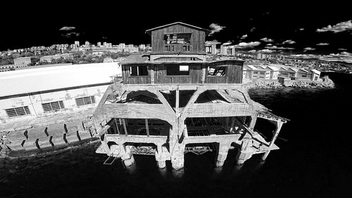 city sea urban panorama white black building history industry monochrome station architecture port buildings landscape coast harbor industrial gulf croatia monochromatic urbanexploration infrared torpedo launch adriatic croatian rijeka urbex historically gopro kvarnerbay primorskogoranskažupanija djiphantom2