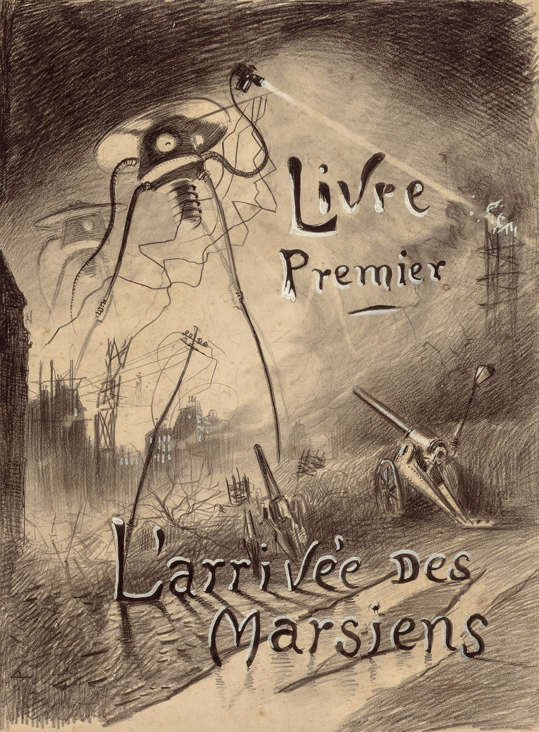 HENRIQUE ALVIM CORRÊA - L'arrivée des Martiens, from The War of the Worlds, Belgium edition, 1906 (illustration is featured as the title page of Book I - The Coming of the Martians)