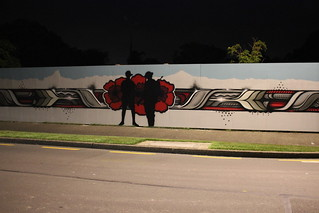 The Hutt City mural - quite striking at night!