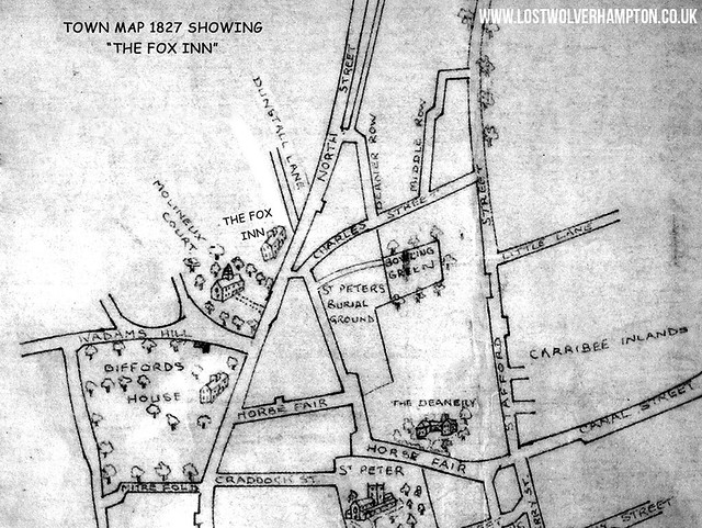 Town Map showing the Fox Inn circa 1827.