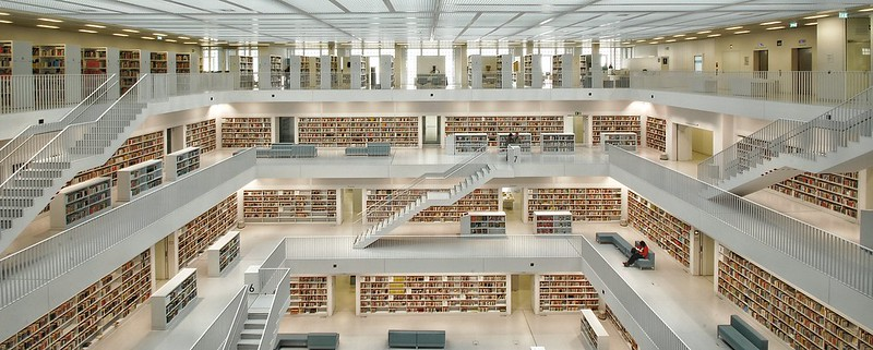 New city library of Stuttgart in South Germany. Neue Stadtbibliothek in Stuttgart / Deutschland