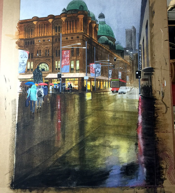 Watercolour painting of QVB by Mike Lamble  5