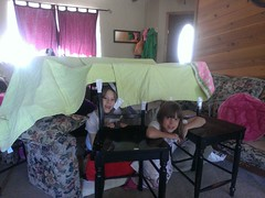 "Daddy""no duh"" pro tip: Duct tape works wonders for blanket forts..."