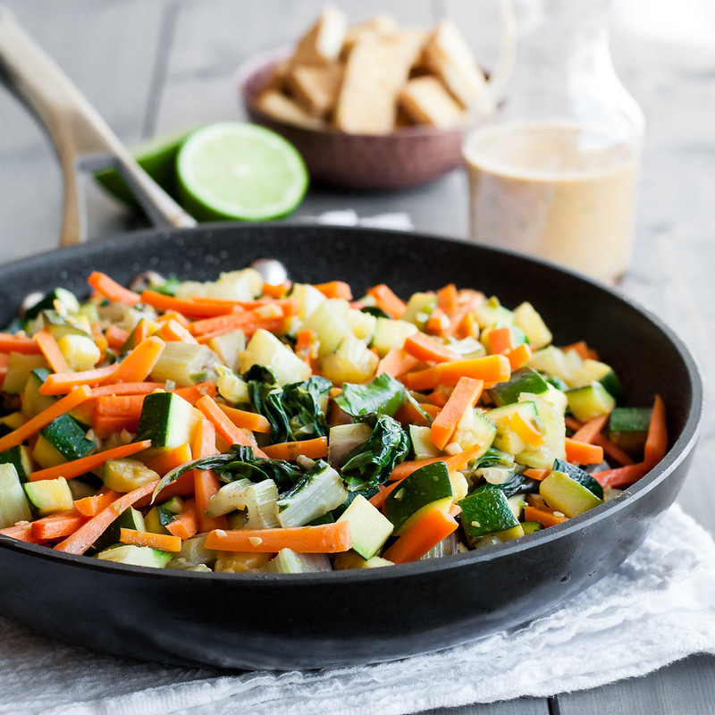 Stir fried veggies for sweet potato bowls with peanut sauce (vegan/gf)
