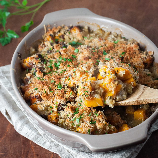 Butternut squash gratin with fresh bread crumbs