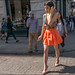 SS5-15 11w orange short skirt multi color low cut top beige heels