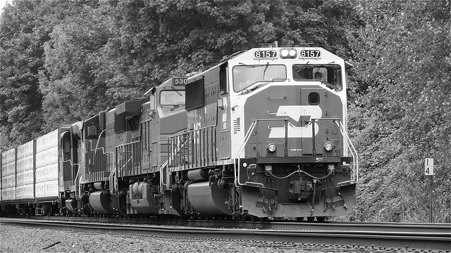 Pacific Northwest BNSF Railroad Photo Black and White