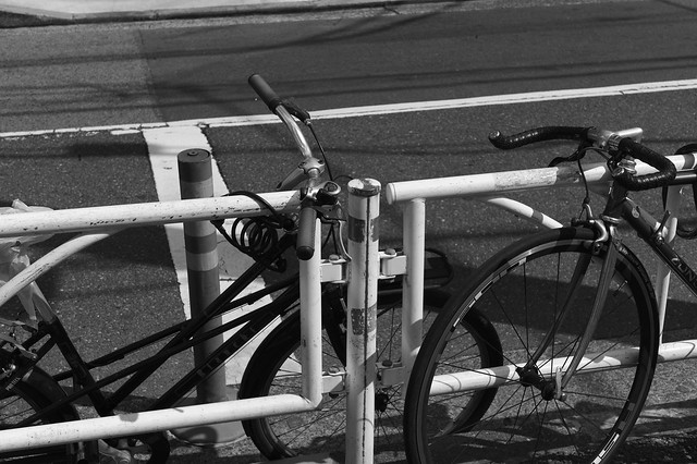 Two bicycles look like a lover.